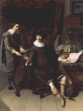 Portret van Constantijn Huygens en zijn klerk.  (Thomas de Keijzer, 1627)